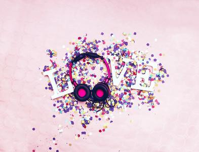 Word love and headphones