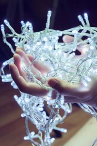Hand holding christmas lights