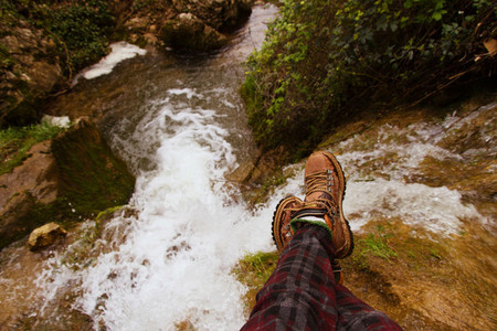 Boots and water fall