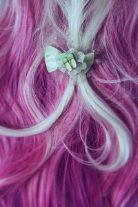 Pink hair and hair tie