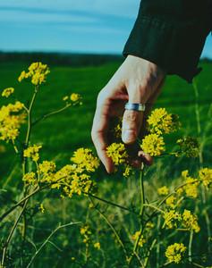 Man039 s hand touching a flower