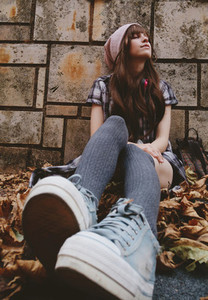 Urban teen enjoying the autumn