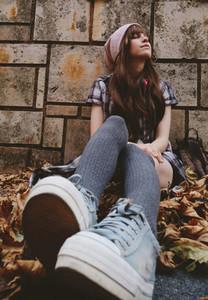 Urban teen enjoying the autumn