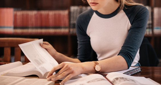 Young female reading book in the library