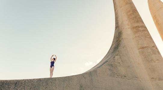 Female ballet dancer practicing dance moves
