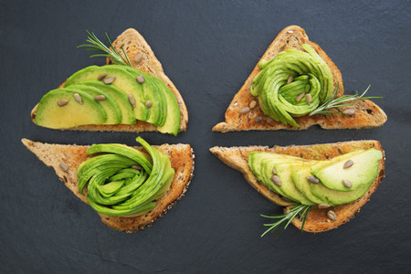 Avocado breakfast on bread toast
