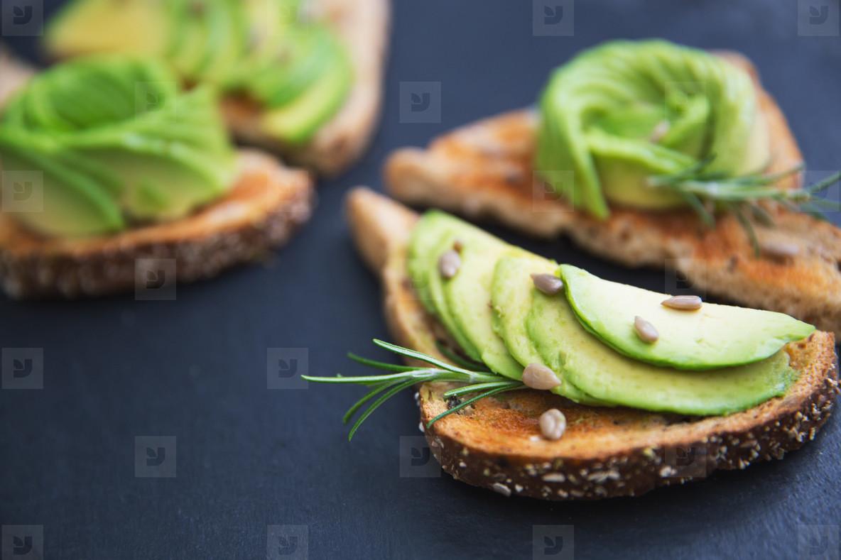 Avocado healthy breakfast on toast bread