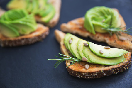 Avocado healthy breakfast on toast bread