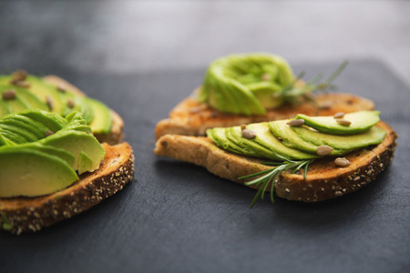 Breakfast avocado on toast bread