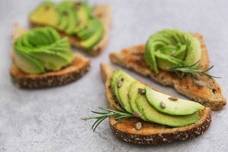 Healthy breakfast of avocado on toast bread