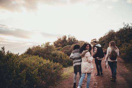 Friends hiking in nature