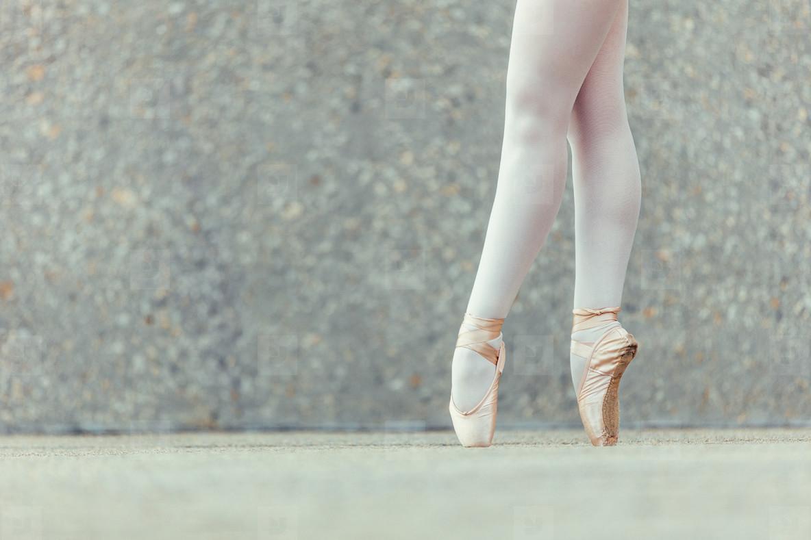 Detail shot of ballet dancer feet