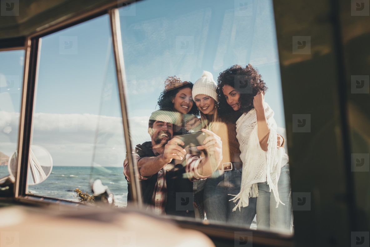 Friends taking selfie on holiday