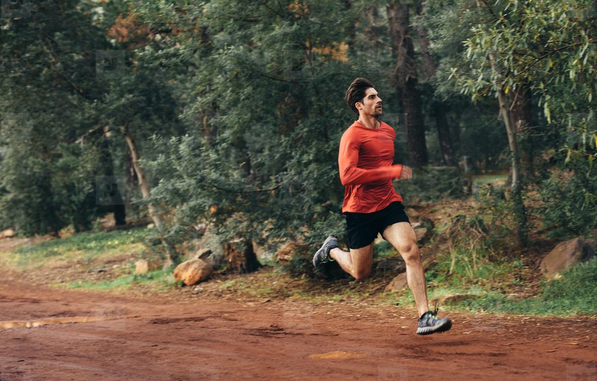 Athlete running in a park