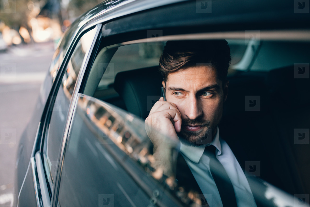 Business executive travelling by car and making phone call