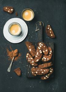 Dark chocolate and sea salt Biscotti with almonds  coffee