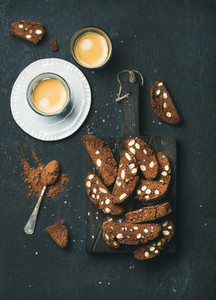 Dark chocolate and sea salt Biscotti with almonds  coffee