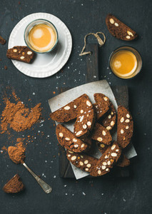 Dark chocolate Biscotti with almonds and coffee espresso