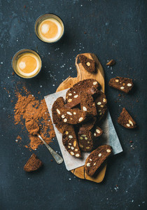 Dark chocolate Biscotti with sea salt almonds and coffee espresso