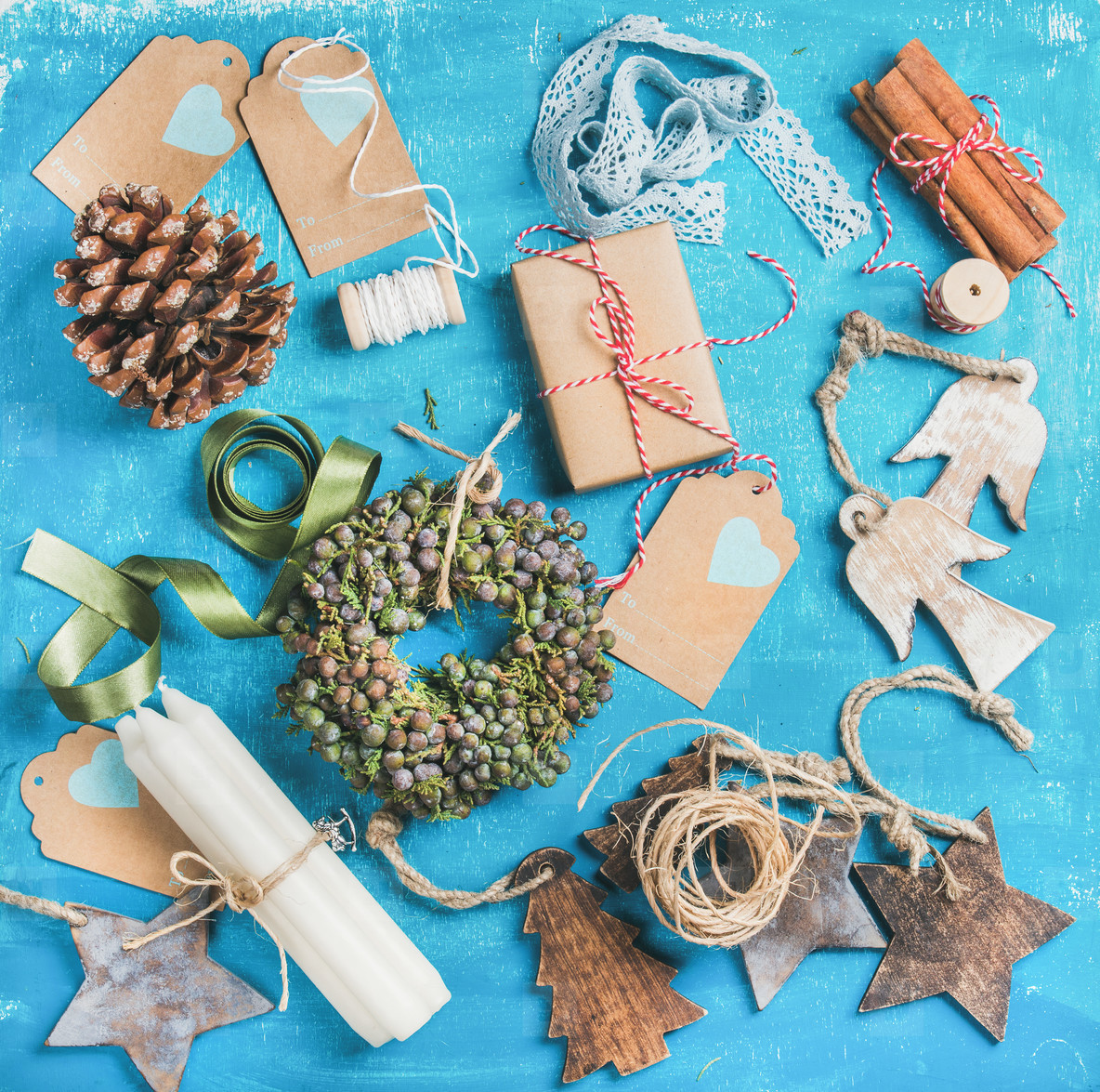 Small Christmas decorative wreath and materials for making decoration
