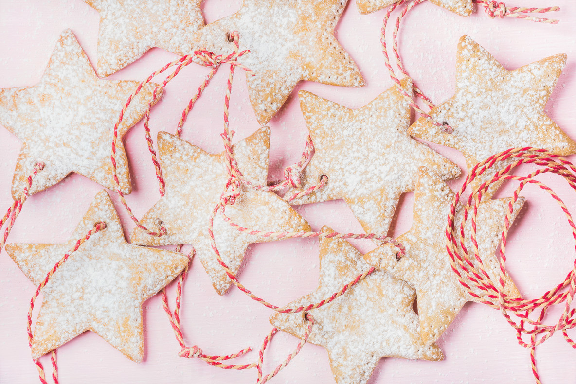 Close up of Christmas gingerbread star shaped cookies