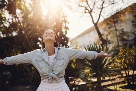 Woman enjoying fresh air in the park