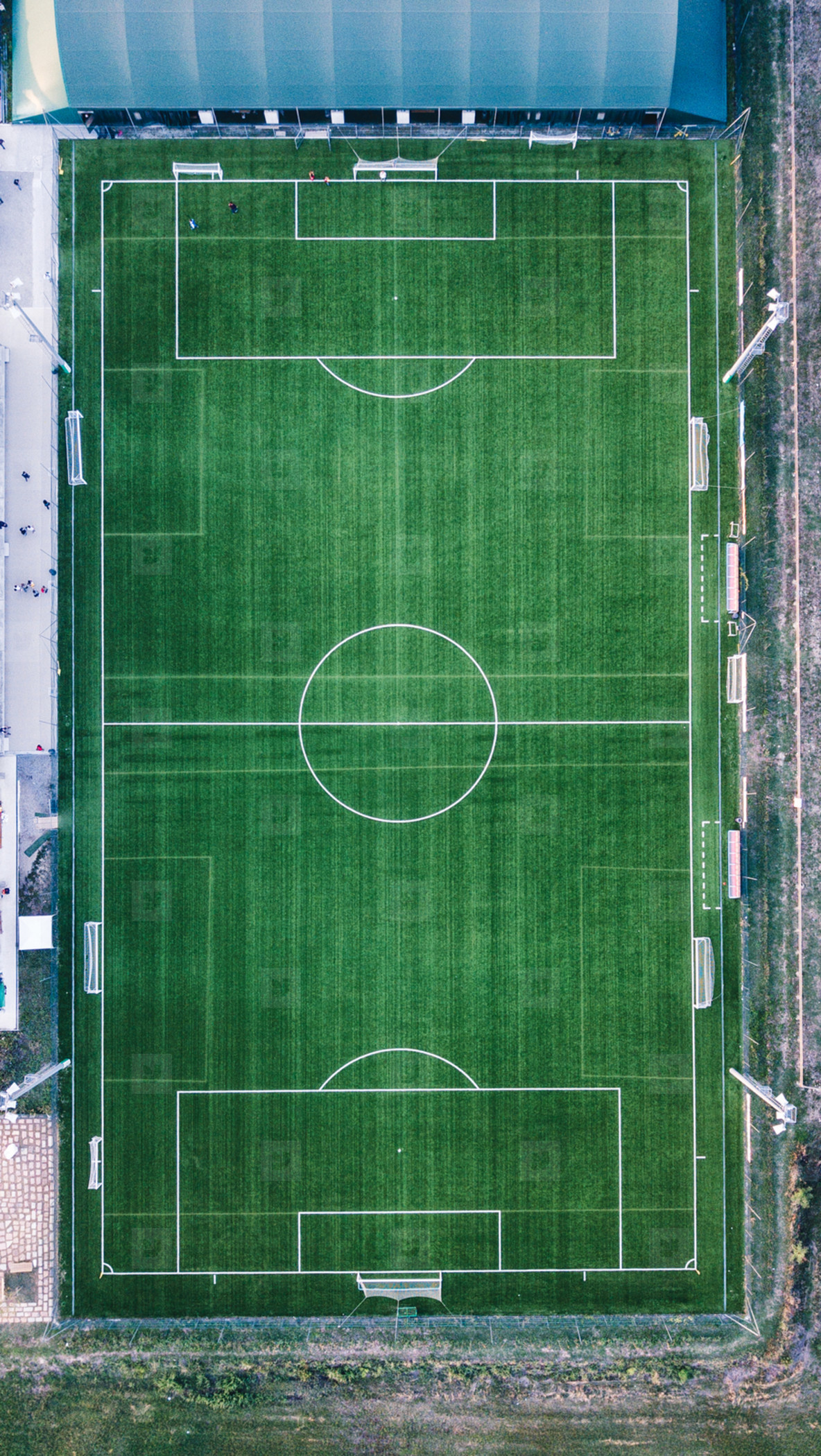 Aerial view of real soccer