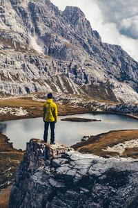 Man looking mountain panorama