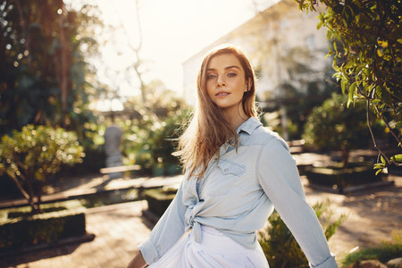 Beautiful female model at garden