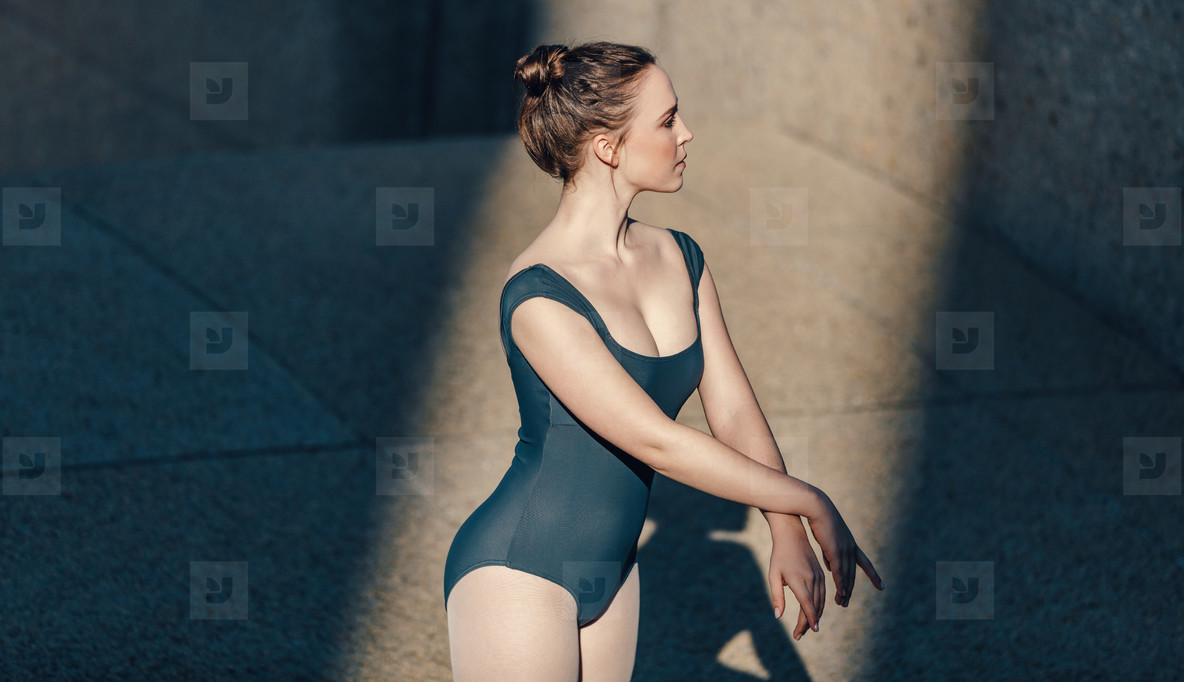 Closeup of female ballet dancer practicing her moves