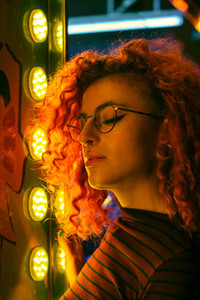 Young woman portrait with lights