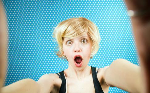 Crazy self portrait of a woman