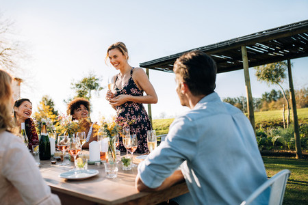 Woman celebrating a special occasion with friends