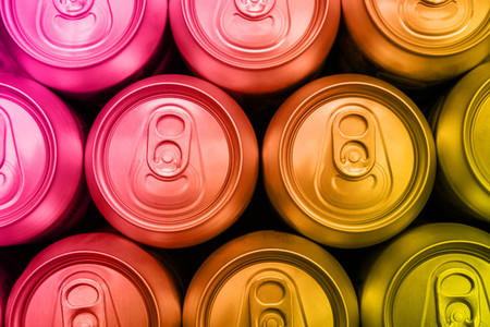 Colorful soda drinks cans overhead