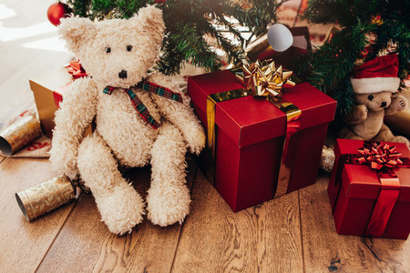 Gift boxes and soft toys placed beside Christmas tree