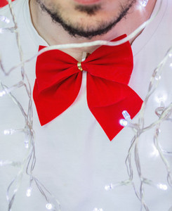 Red bow tie and lights