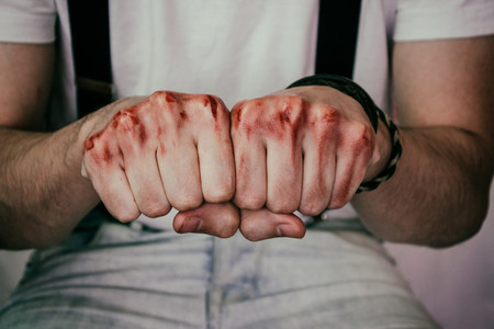 man039 s hands with blood