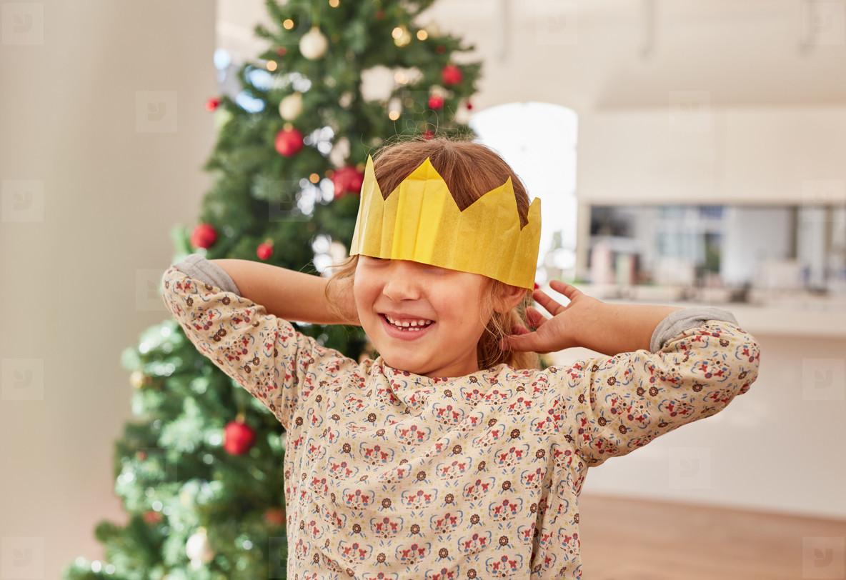 Cute little girl wearing crown