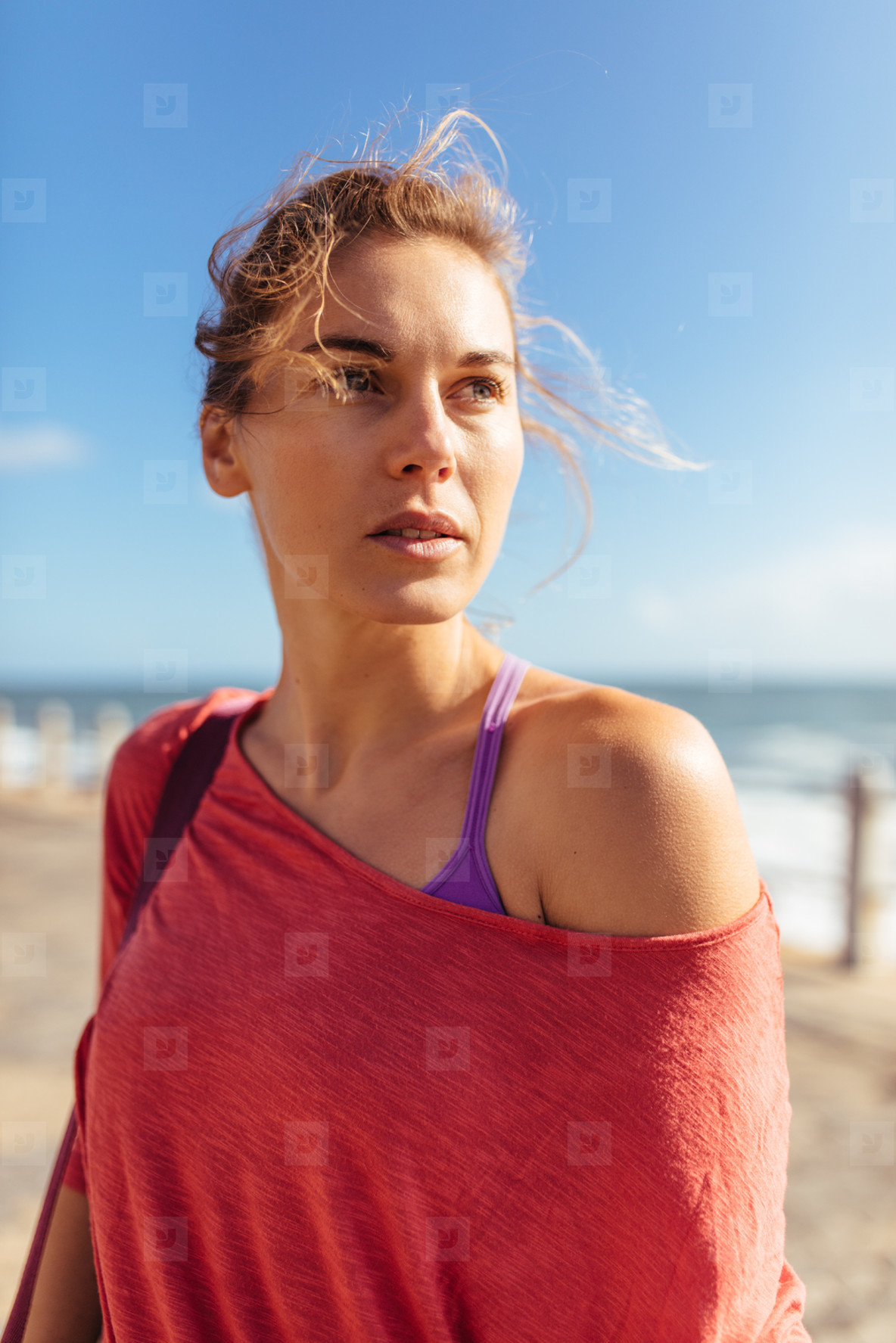 Fitness woman looking away