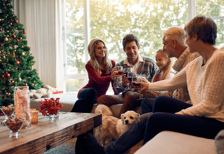 Happy family celebrating Christmas eve with wine