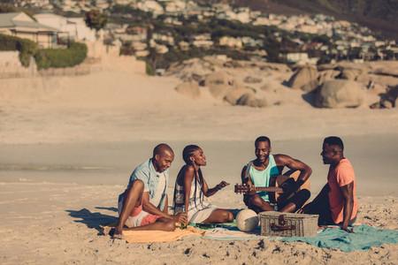 Group of people enjoying at the seaside picnic