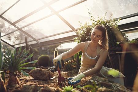 Female worker gardening in greenhouse