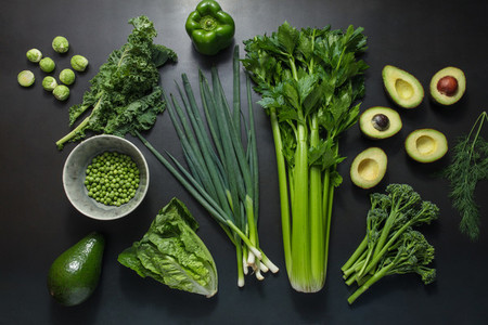 Green vegetables on table