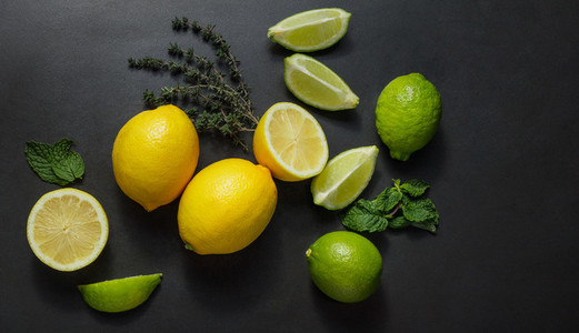 Limes  lemons and mint