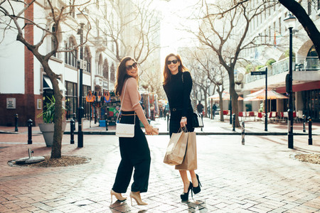Beautiful women enjoying shopping in the city