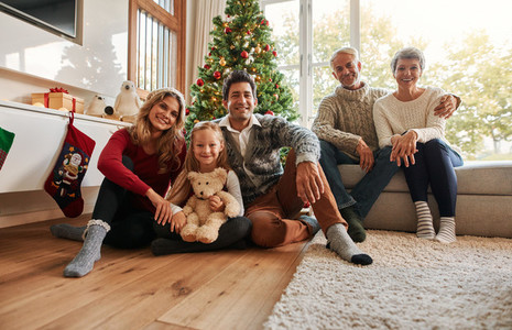 Family holiday gathering by Christmas tree