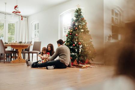Small family celebrating Christmas