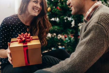 Young couple celebrating Christmas by exchanging gifts