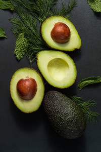 Avocados with dill leaves and mint
