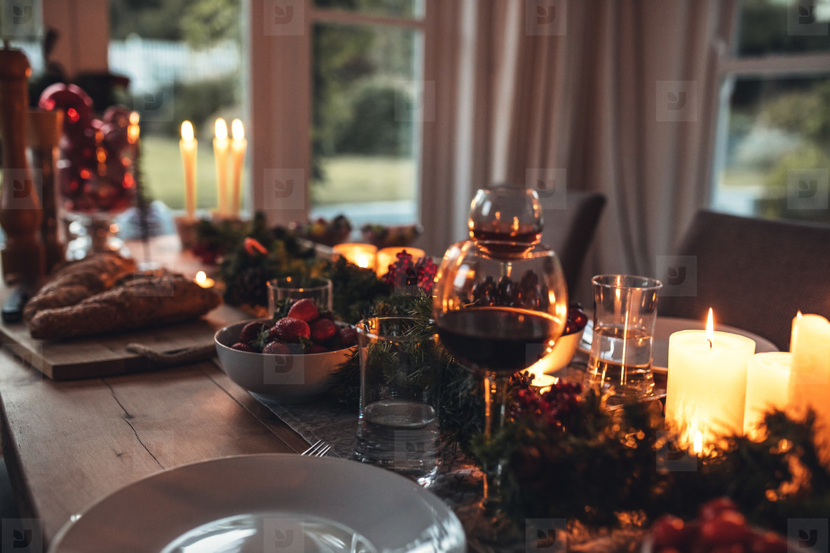 Traditionally decorated christmas table at home
